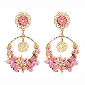Wind Rose Floral Dangle Earrings P…